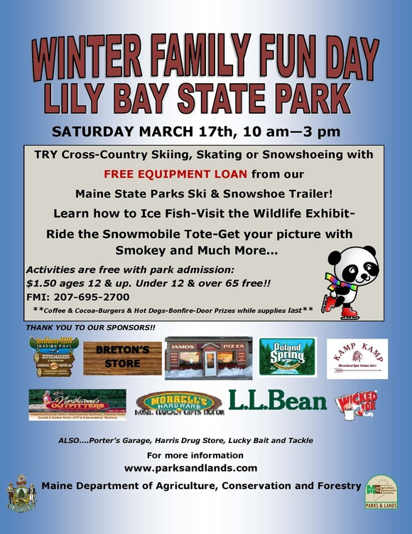 Lily Bay State Park Winter Fun Day