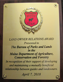 Landowner Relations Award plaque from the Professional Maine Guides