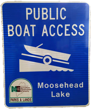 Boat Launch Sign ; bright blue background with reflectice white lettering and symbol