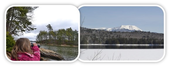 Watching osprey on Goggins Island, Wolfe's Neck Woods State Park and winter view of Mt Katahdin from the Penobscot River Corridor