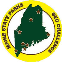 Maine State parks Geocaching logo showing state with a golden ring around it and starts to mark the 8 geocache locations