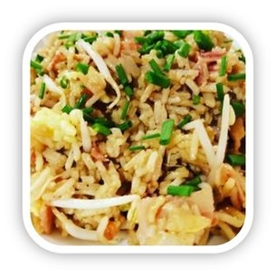 Bacon and egg fried rice photo.