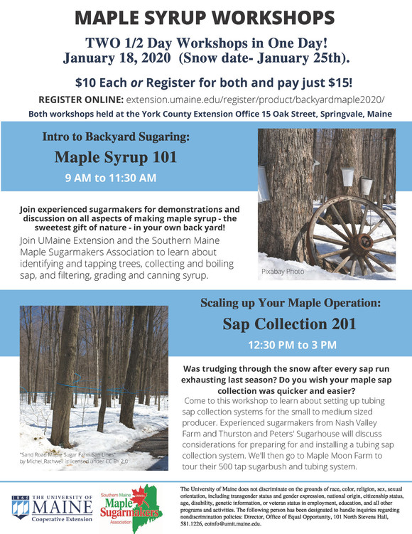 Maple Syrup 101 and Sap Collection 201 workshops