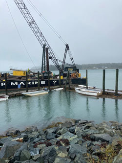 Lubec Launch under repair by Prock Marine.