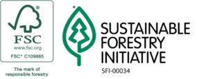 Certified forestry logos: Forest Stewardship Council (FSC) and the Sustainable Forestry Initiative (SFI).