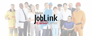 Maine Job Link Header showing people in various uniforms posing in a group.