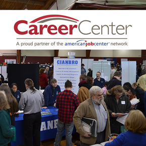 People meet with employers at a Careercenter job fair