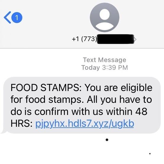 Food Assistance Scam Screenshot