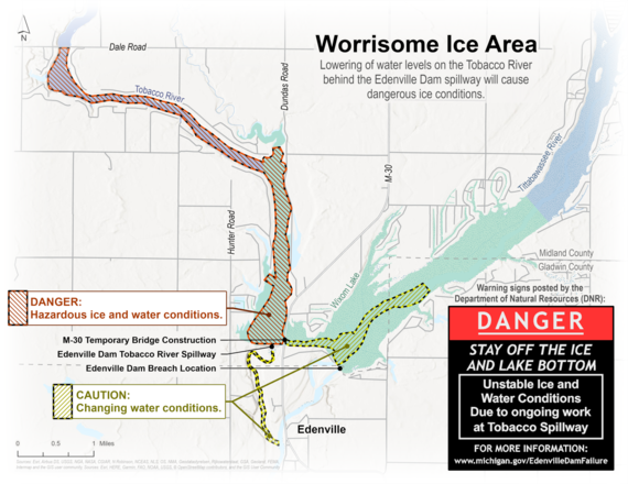 Edenville Dam drawdown map showing locations of hazardous ice and water conditions