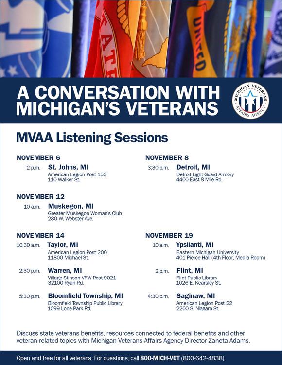 Veteran Listening Session schedule