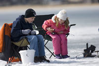 Kids ice fishing in Michigan