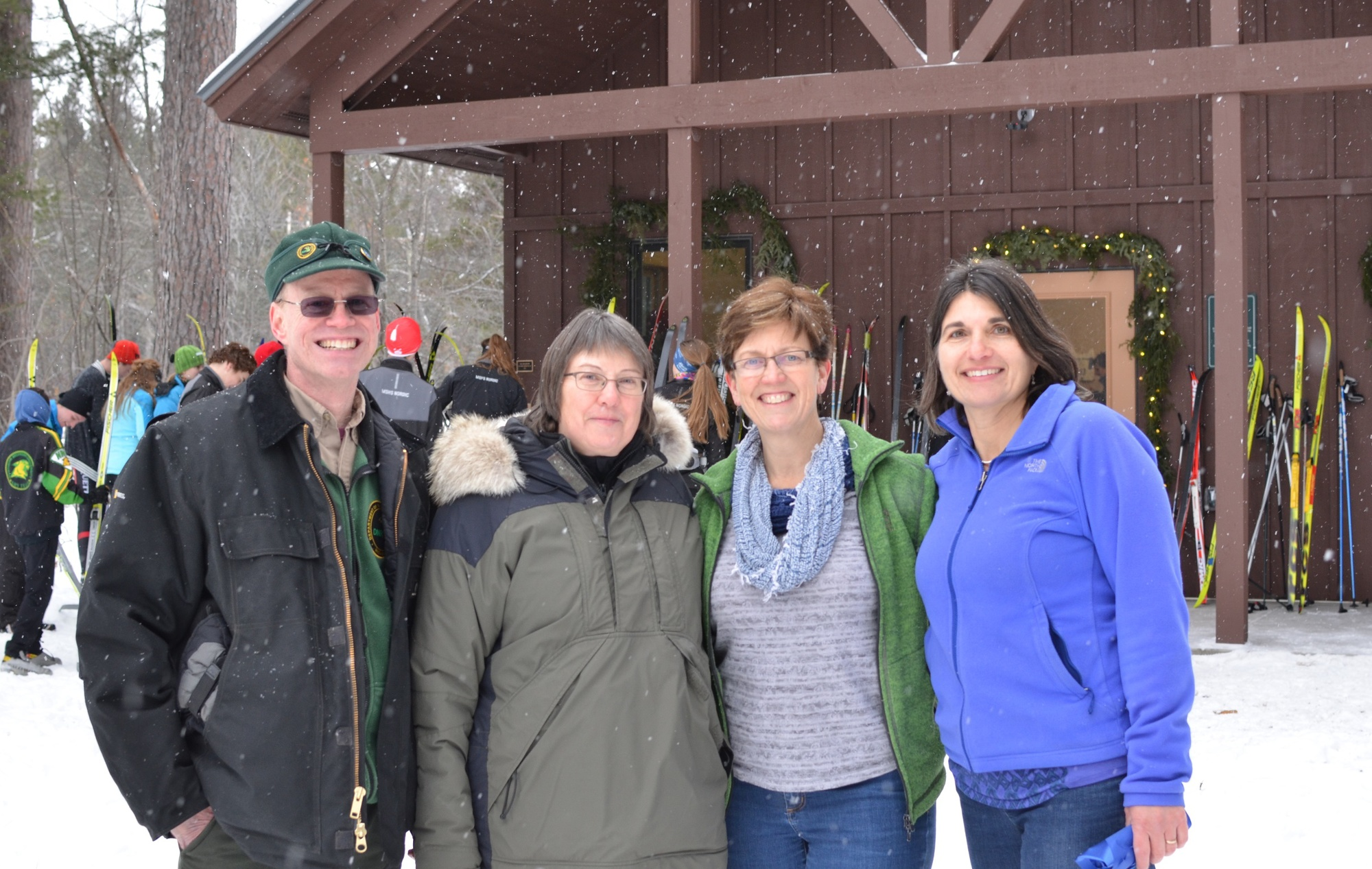 Partners on the Blueberry Ridge Warming Hut project are shown Jan. 14 just after the facility was officially opened to the public with a ribbon-cuttin