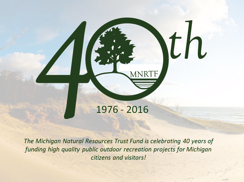 The logo for this year's celebration of the 40th celebration of the Michigan Natural Resources Trust Fund.