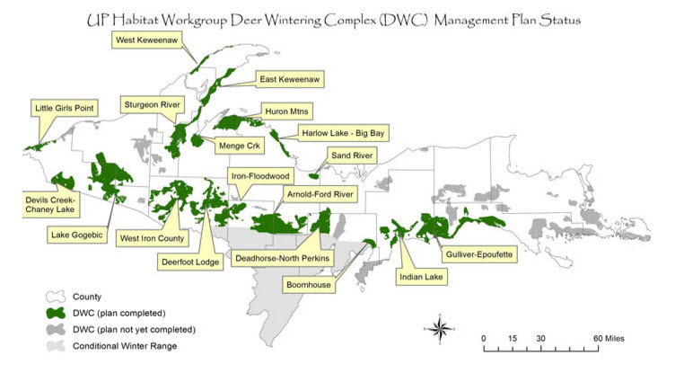 A map depicts where deer wintering complexes are located in the Upper Peninsula.