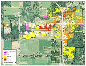 map illustrating tree-planting priority for Standish