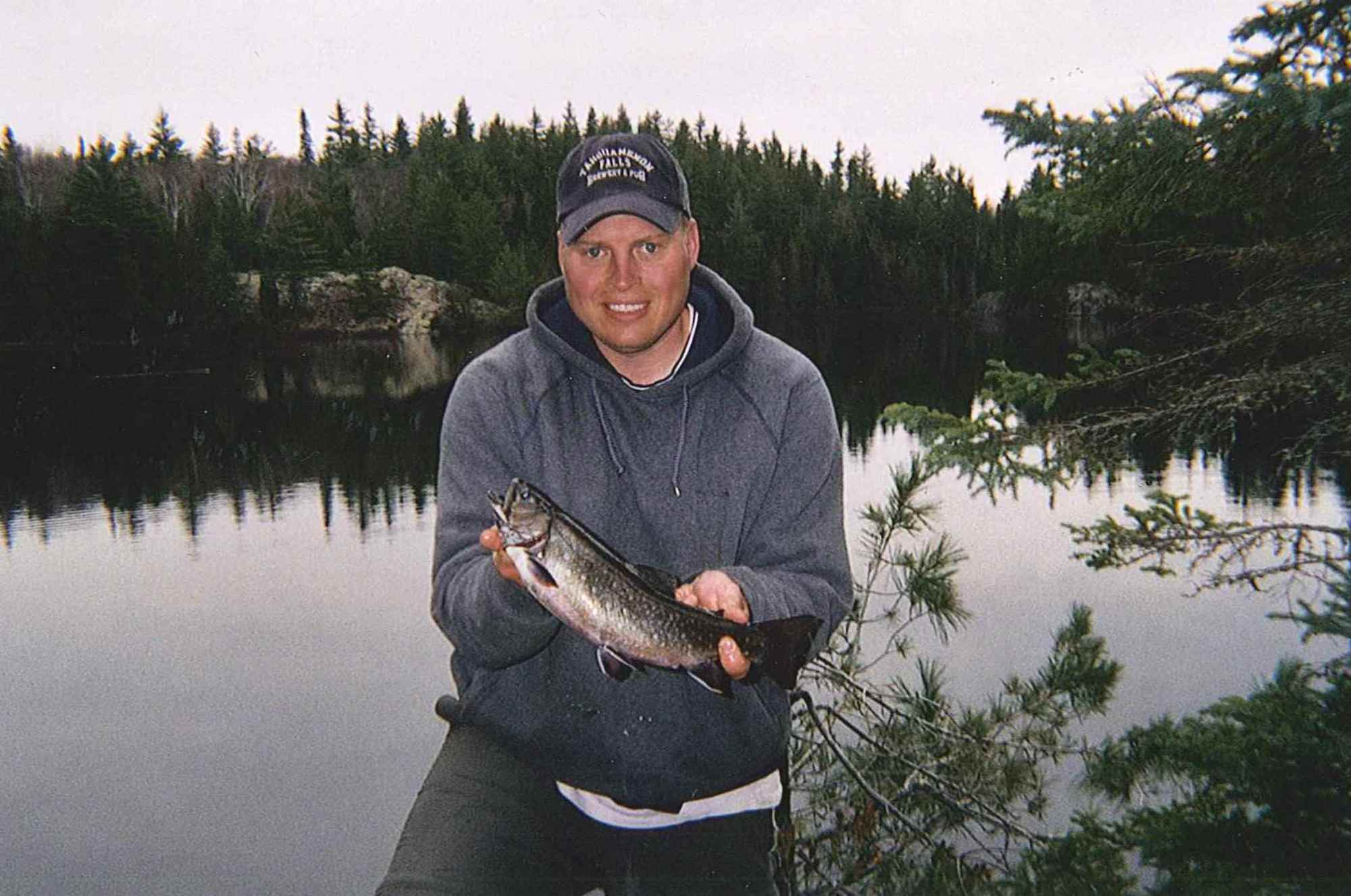 Rob Katona with a sizeable catch from an Upper Peninsula brook trout lake.
