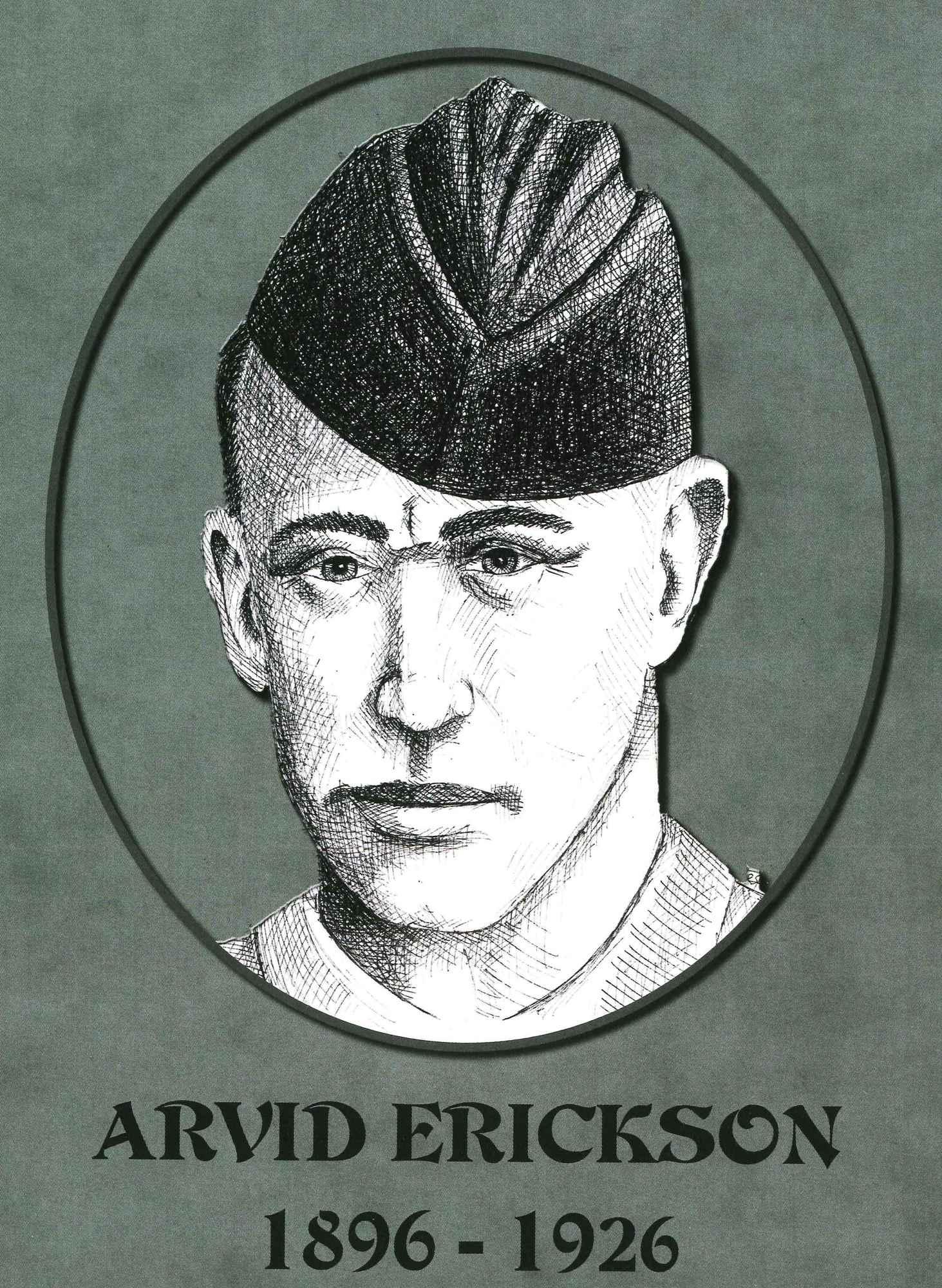 Sketch of Arvid Erickson, killed in September 1926.