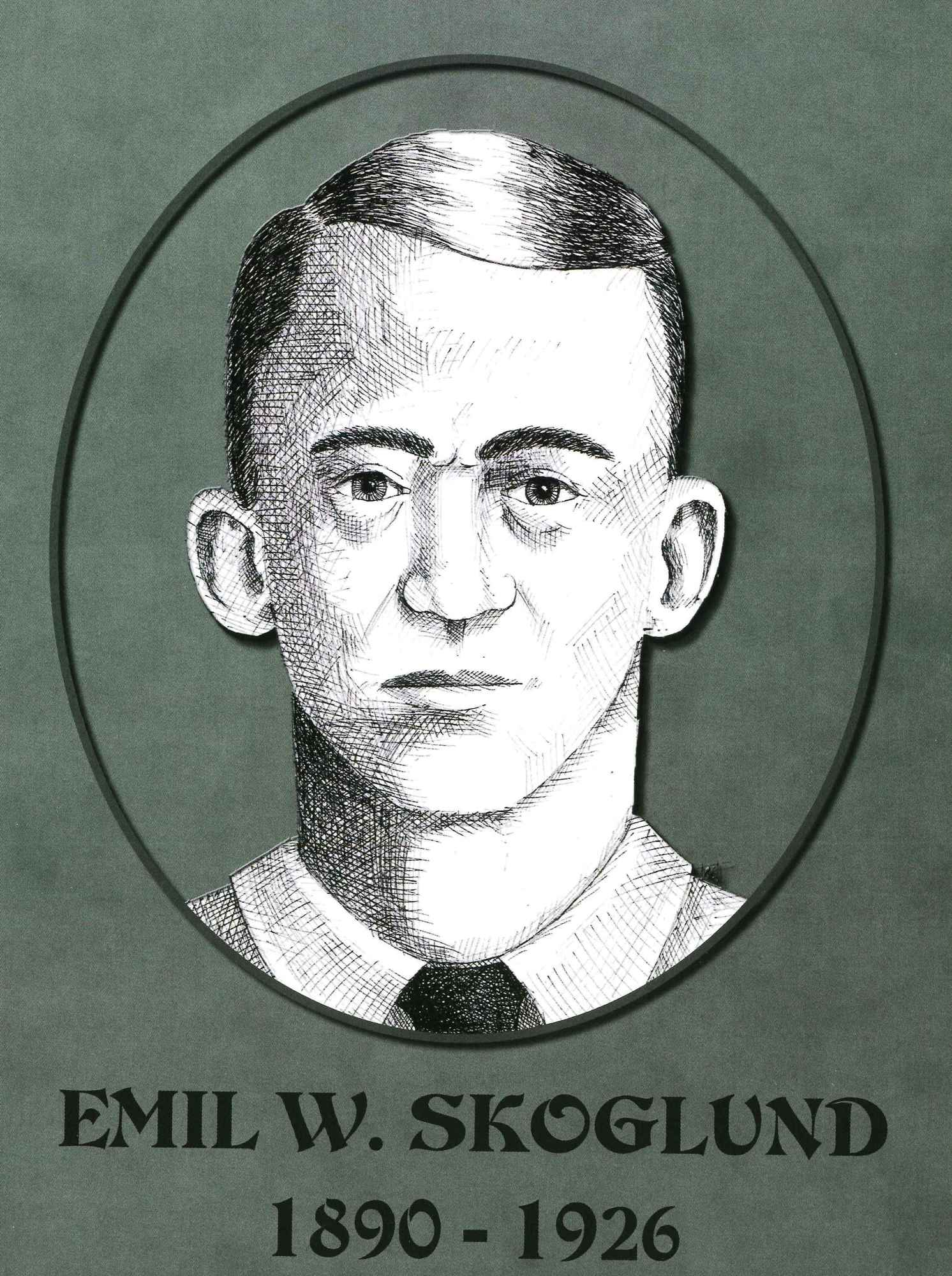 Sketch of Emil Skoglund, killed in 1926.