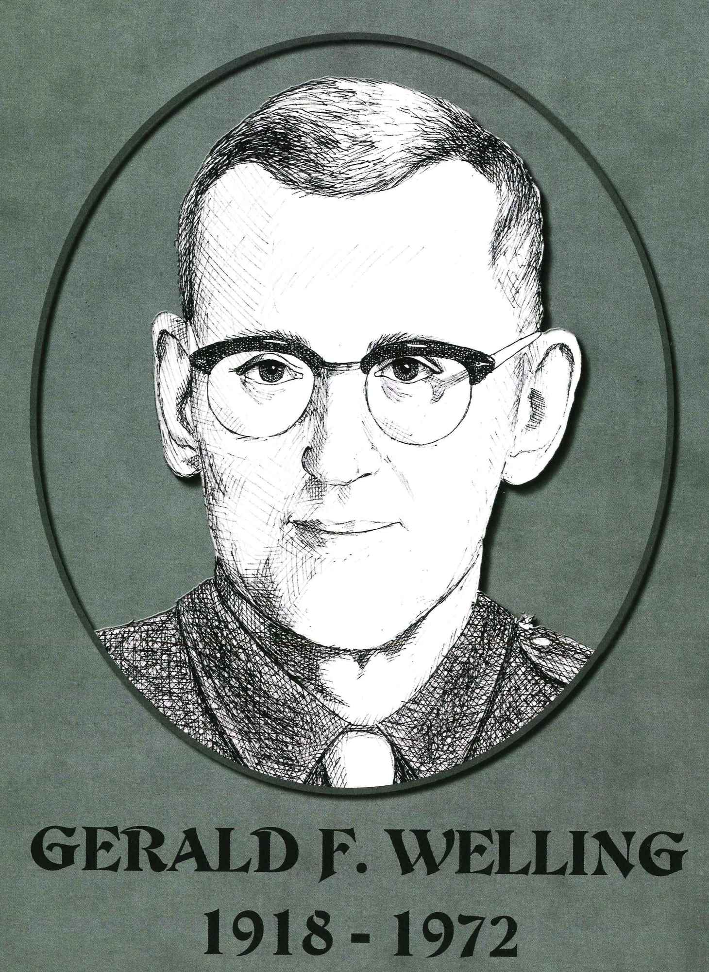 Sketch of Gerald Welling, killed in 1972.