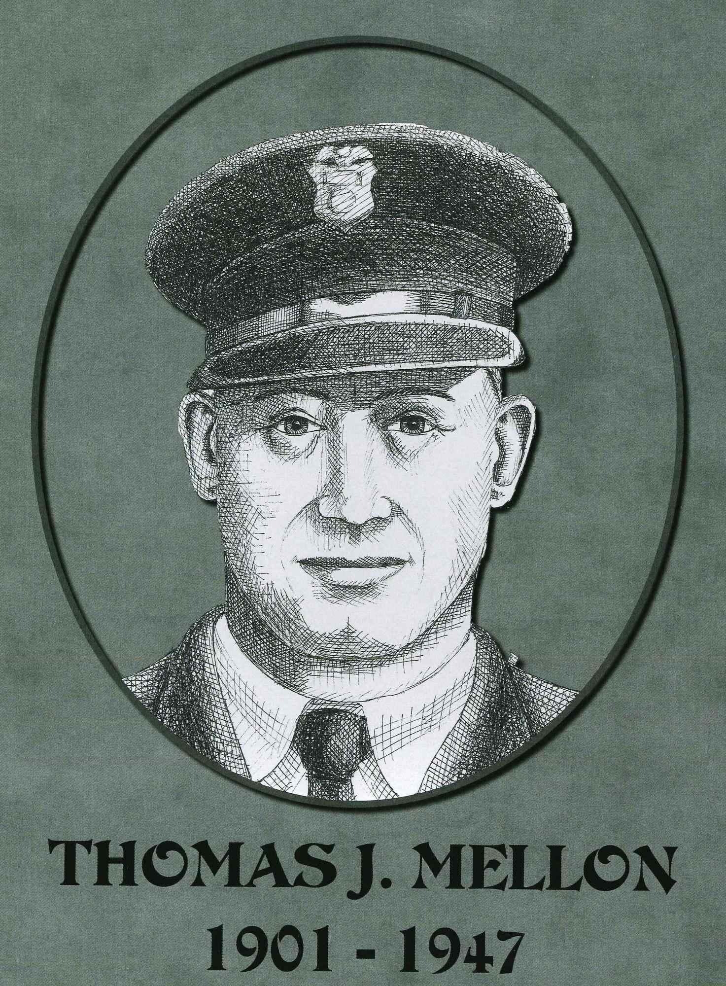 Sketch of Thomas Mellon, killed in 1947.