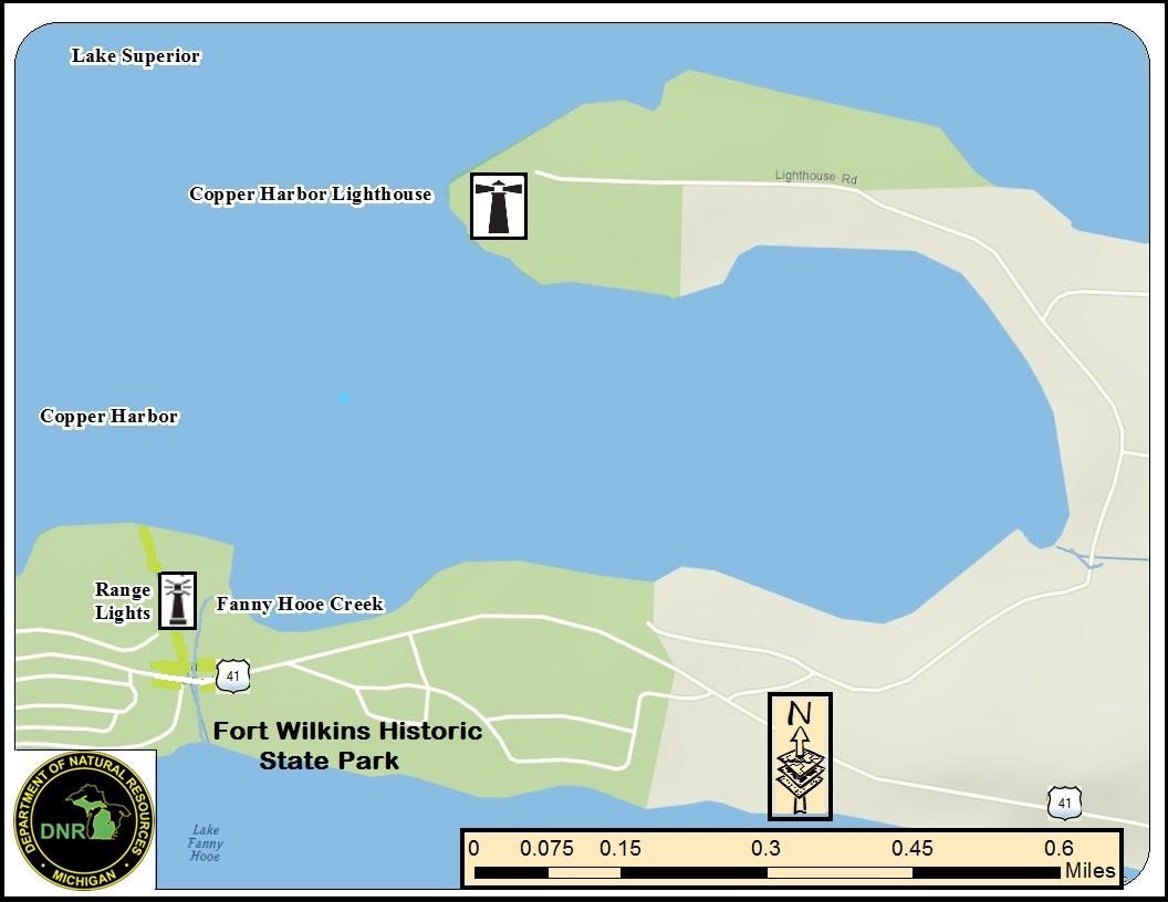 A map graphic shows Copper Harbor and the locations of the Copper Harbor Lighthouse and the associated range lights on the mainland.