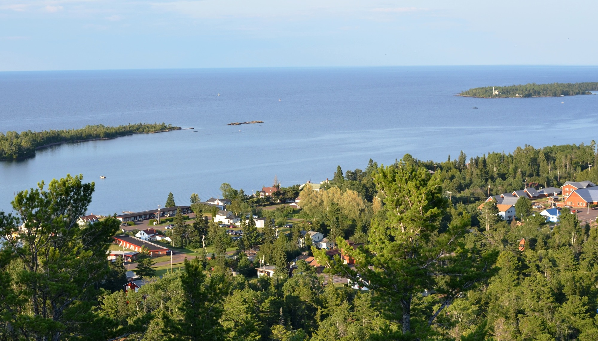 Picturesque Copper Harbor is shown viewed from Brockway Mountain