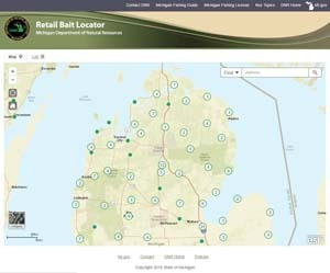 Screenshot of Retail Bait Shop Locator application