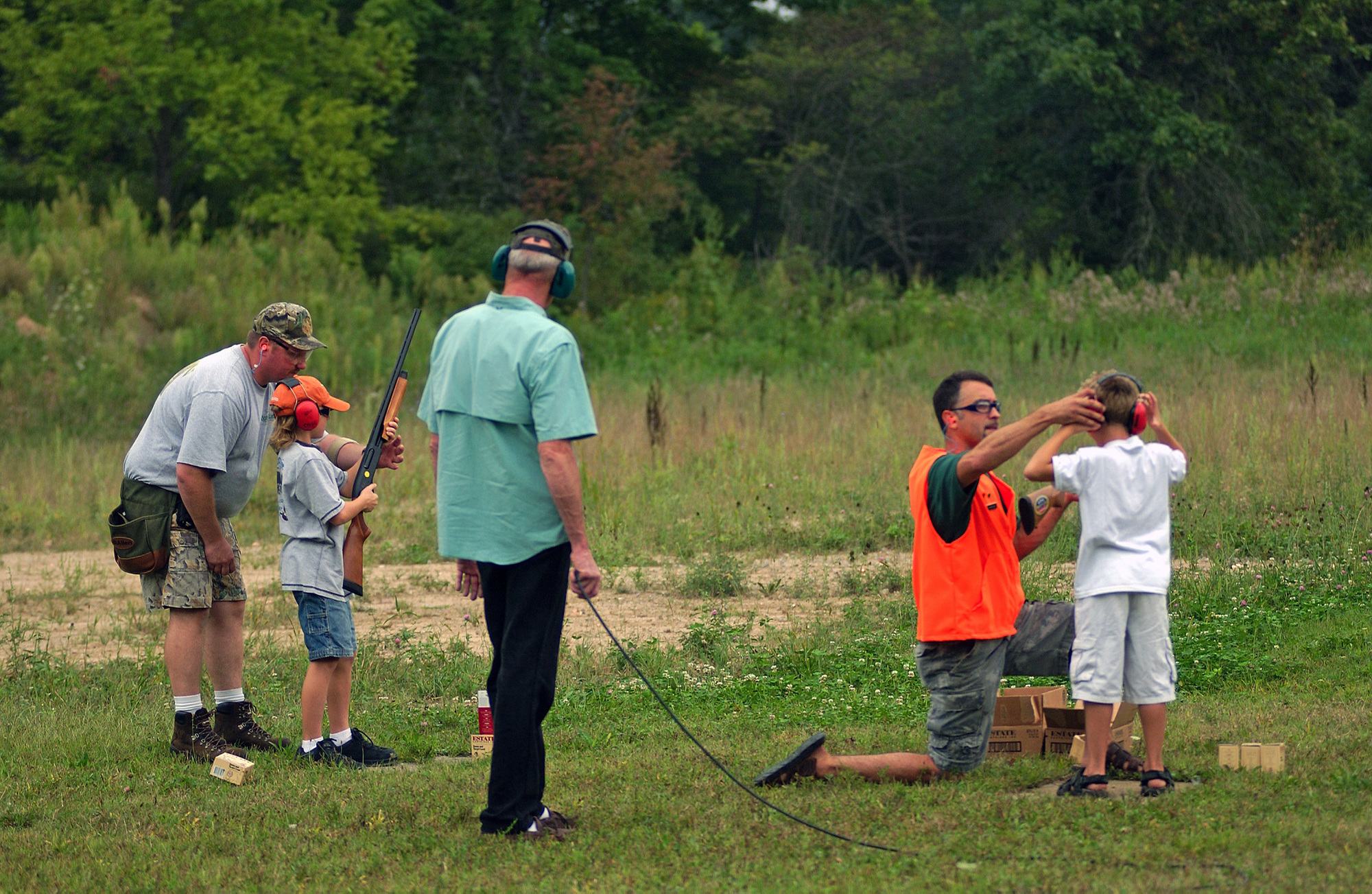 Hunter safety instruction by volunteers at Chief Okemos Sportsman Club in Dimondale, Michigan.