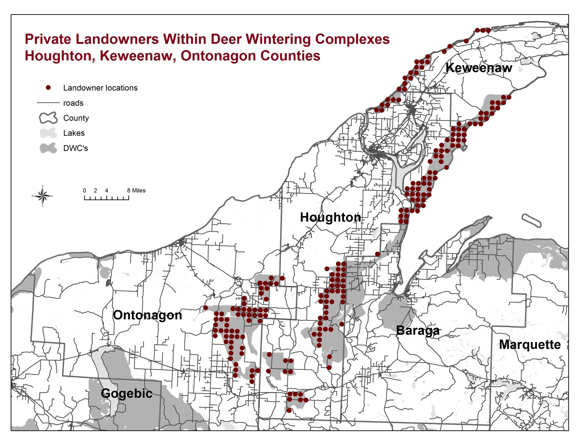 A map showing private landowners within deer wintering complexes in Houghton, Ontonagon and Keweenaw counties.