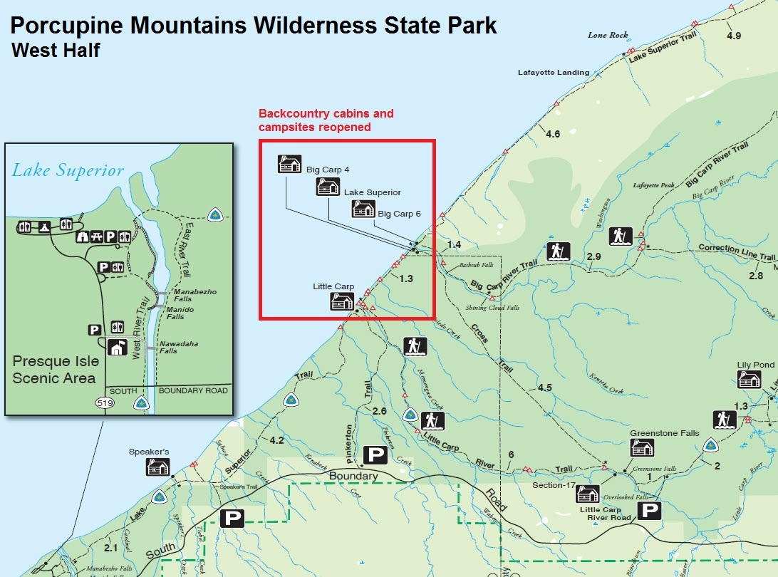 A map of the west half of Porcupine Mountains Wilderness State Park showing the locations of backcountry cabins and campsites that have been reopened.