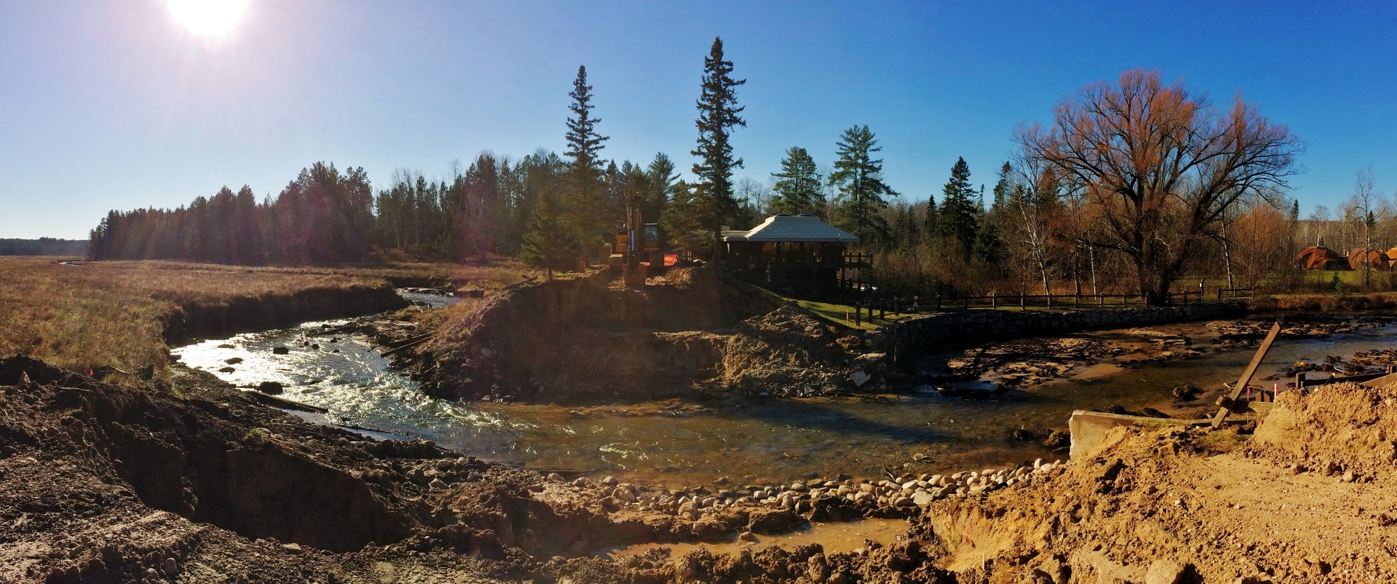 A panoramic view of the dam removal work on the Pigeon River in November 2015.