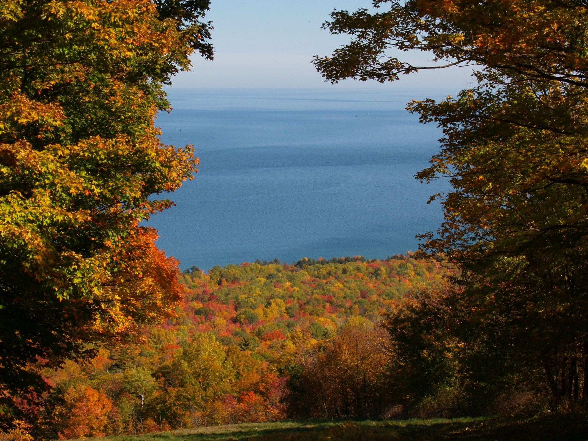 A view of Lake Superior amid the splendor of autumn at Porcupine Mountains Wilderness State Park in Ontonagon County.