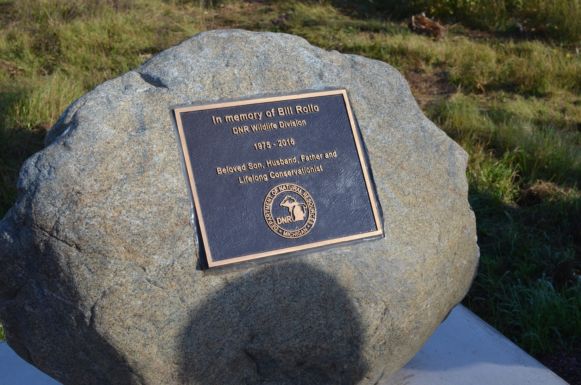 Michigan marquette county gwinn - The Memorial Stone For Bill Rollo At The Michigan Department Of Natural Resources Grouse Enhanced Management