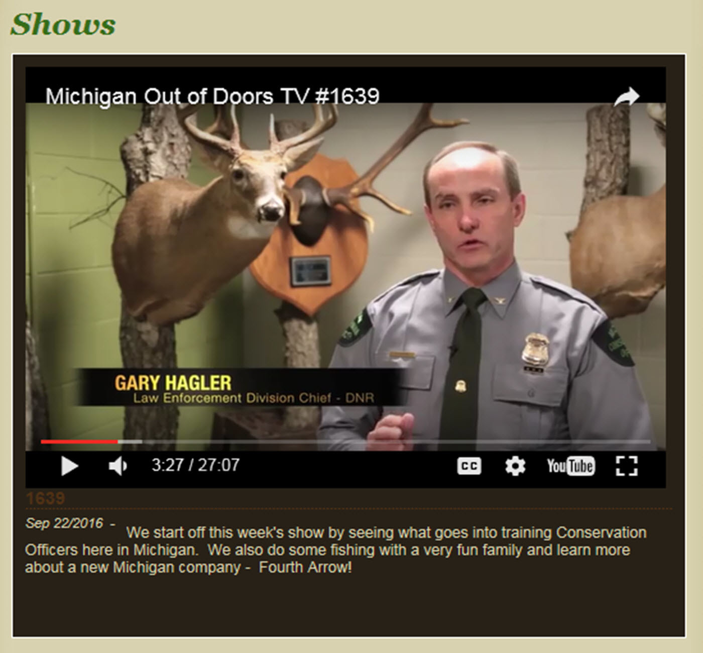 A screen capture shows an episode of Michigan Out-of-Doors television from earlier this year about the Michigan conservation officer academy.