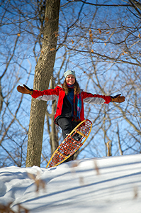 visitor on her snowshoes