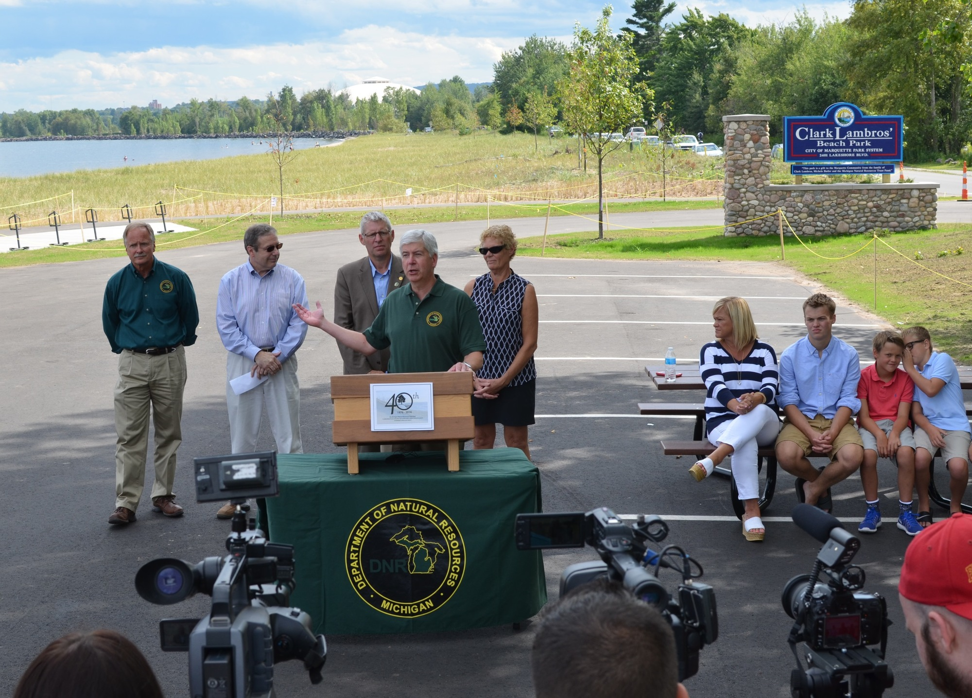 Gov. Rick Snyder spoke this past summer at a commemoration of the Michigan Natural Resources Trust Fund's 40th anniversary in Marquette County.