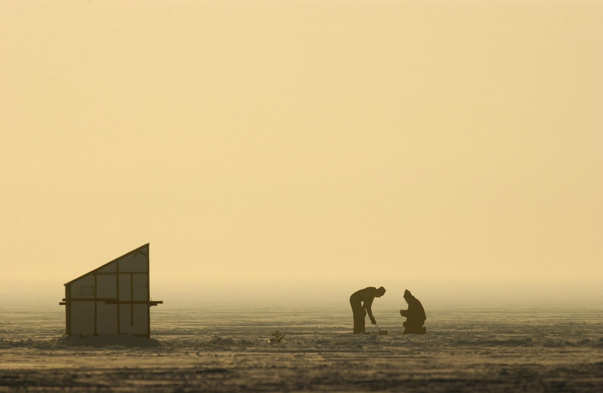 A beautiful Michigan ice fishing scene.