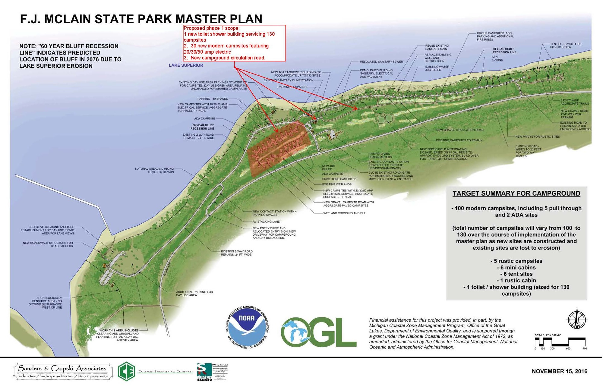 A map of F.J. McLain State Park shows scheduled construction improvements during Phase 1 of implementation of the park�s recently approved master plan