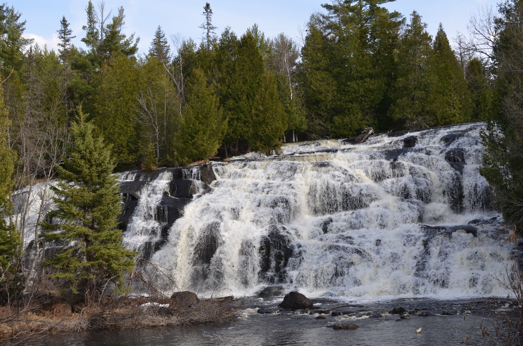 Bond Falls in Ontonagon County is a popular spot to sightsee when snowmobiling in the western Upper Peninsula.