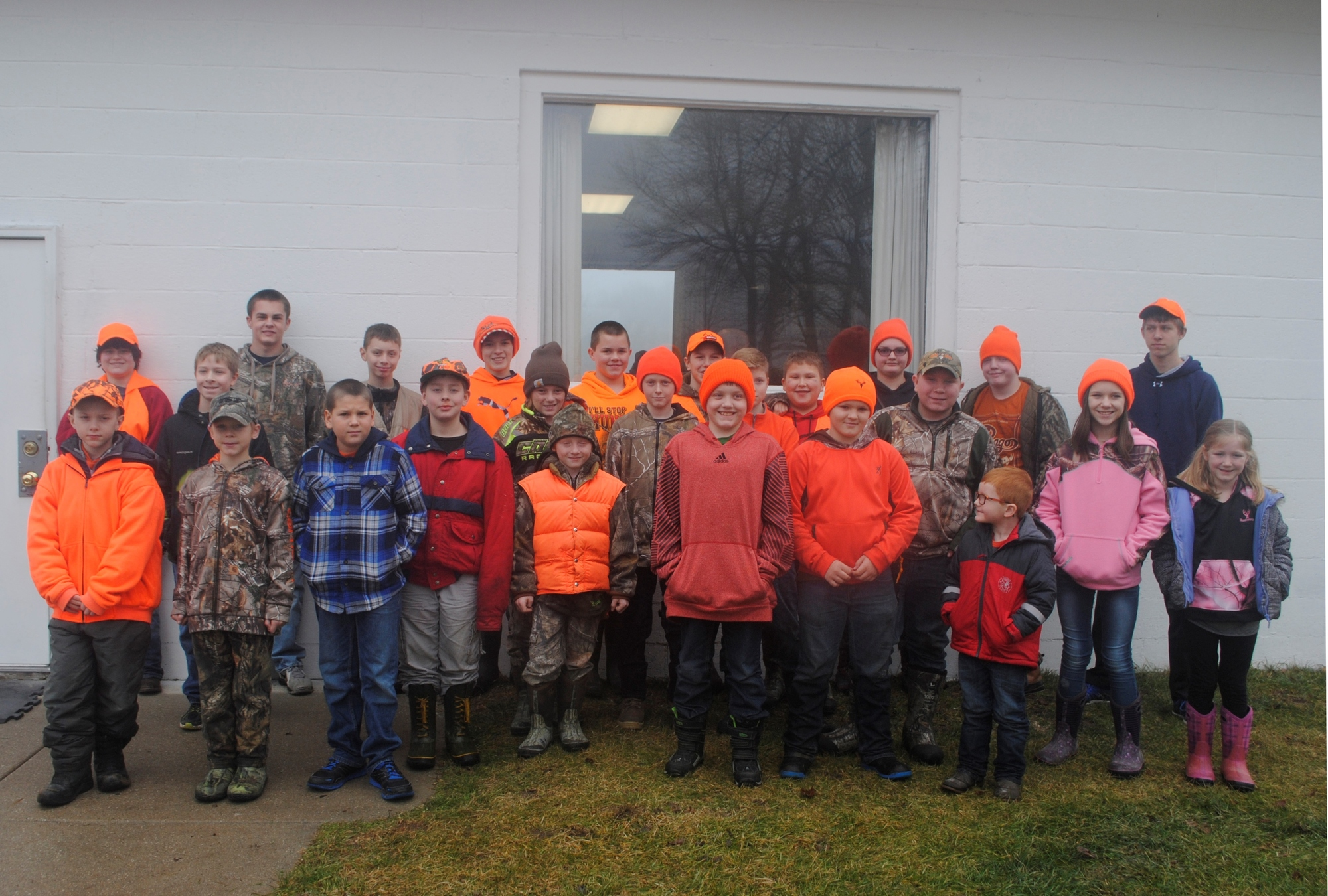 Some of the kids who participated in the youth hunt at Flat River State Game Area near Belding, which is located northeast of Grand Rapids.