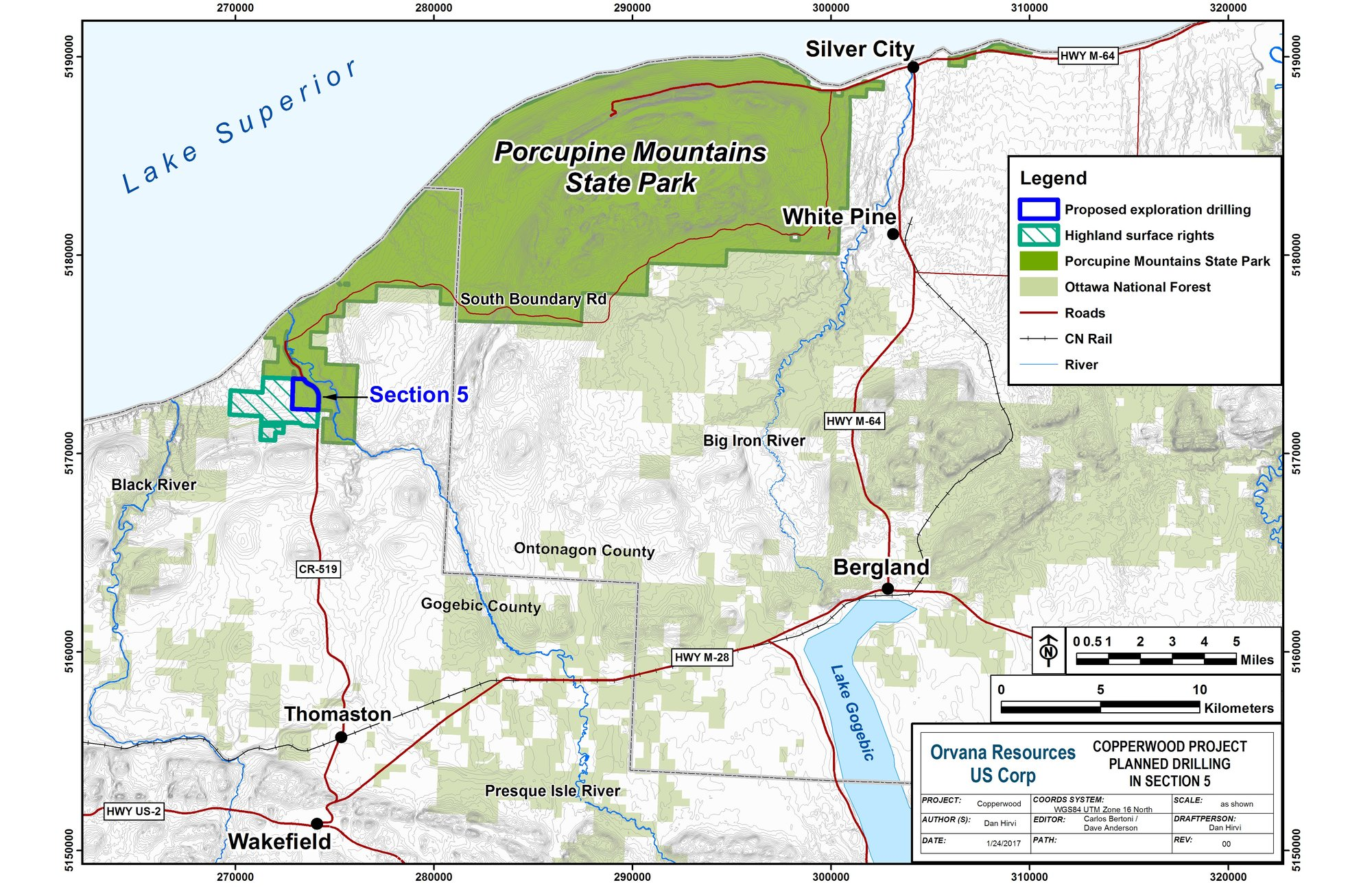 A map shows land ownership and the location of the exploratory drilling at Porcupine Mountains Wilderness State Park.
