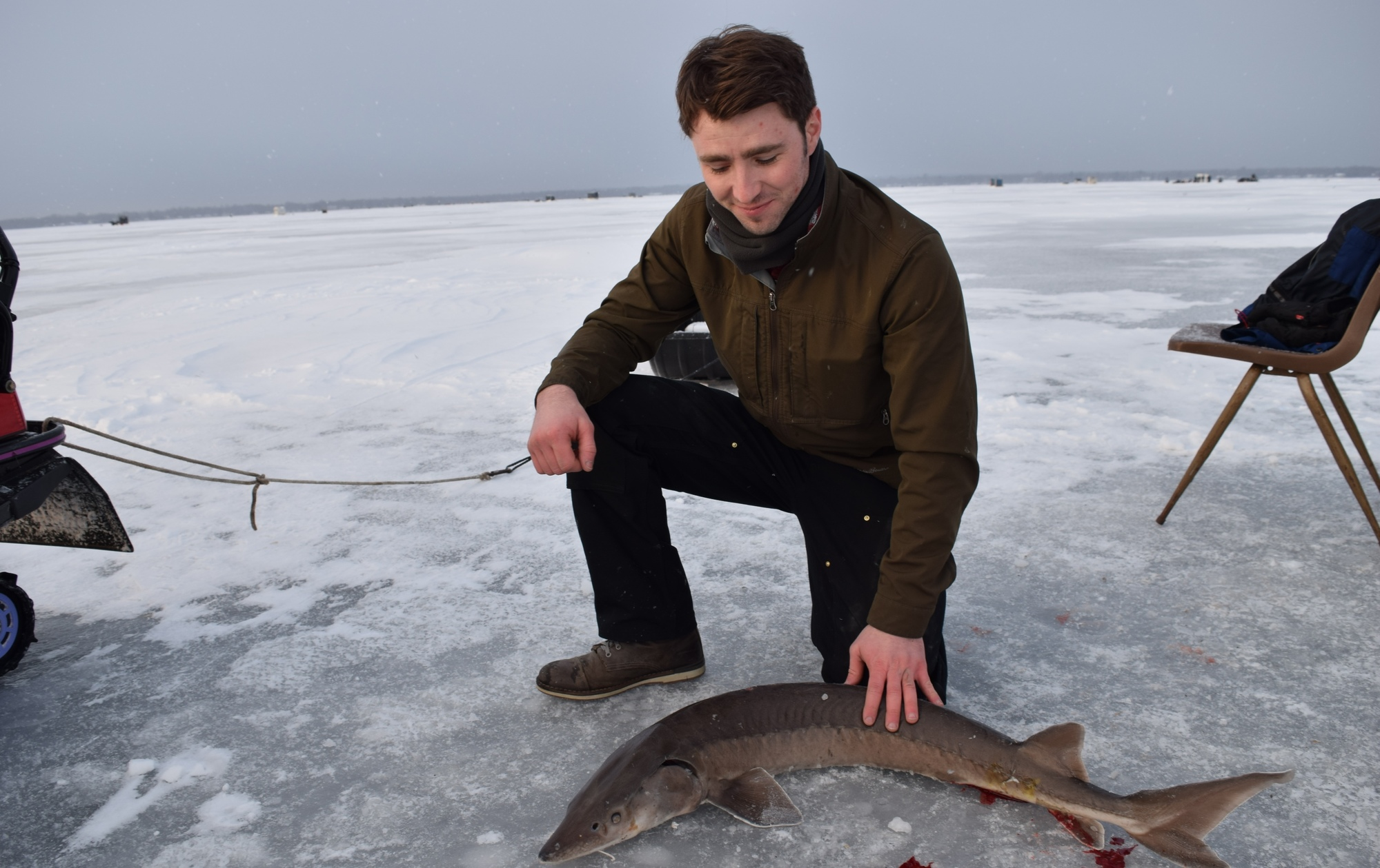 Benjamin Archambo speared the fourth – and smallest – sturgeon he saw on opening morning at Black Lake.