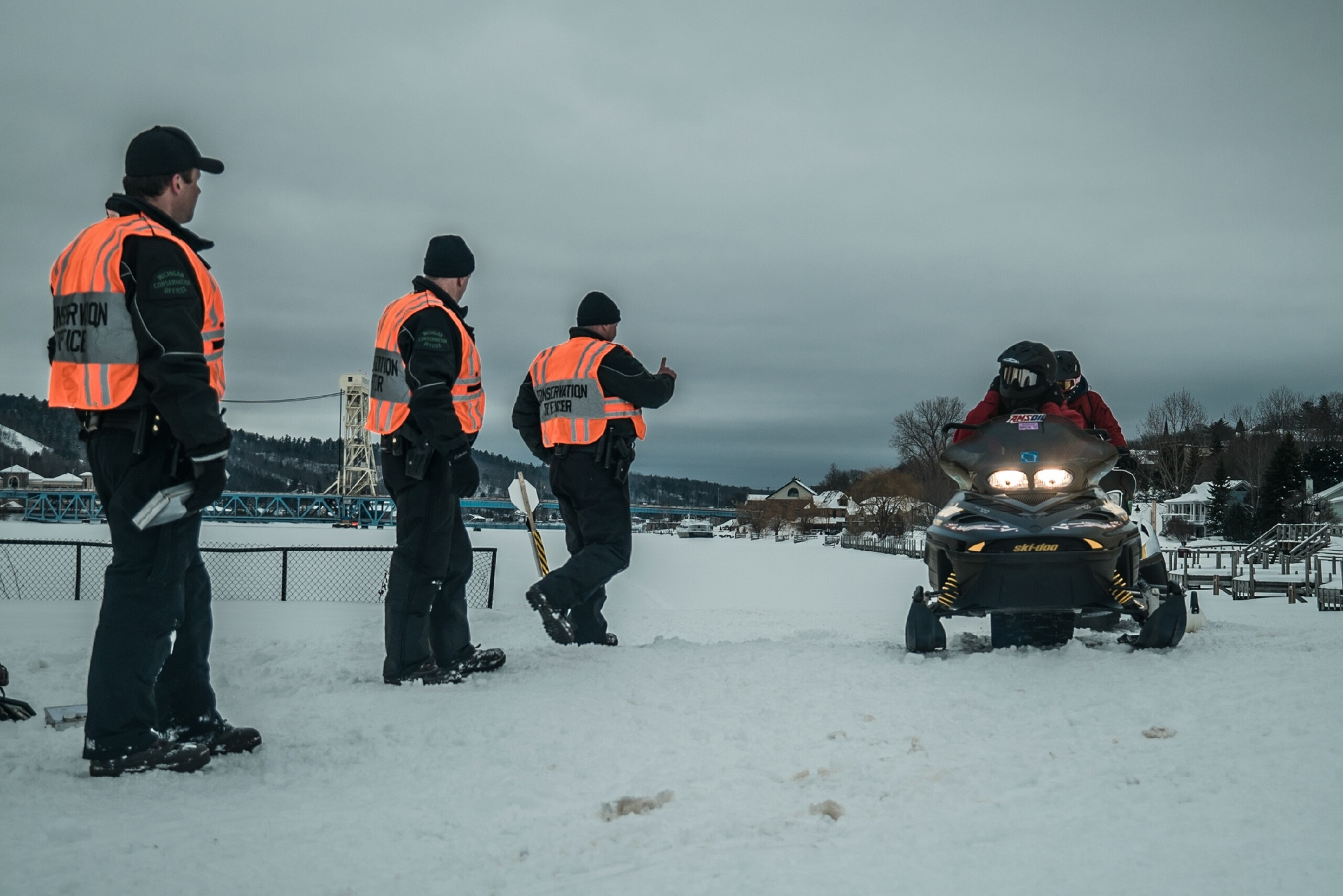 Michigan Department of Natural Resources Conservation Officers working their recent joint snowmobile enforcement patrol in Houghton.