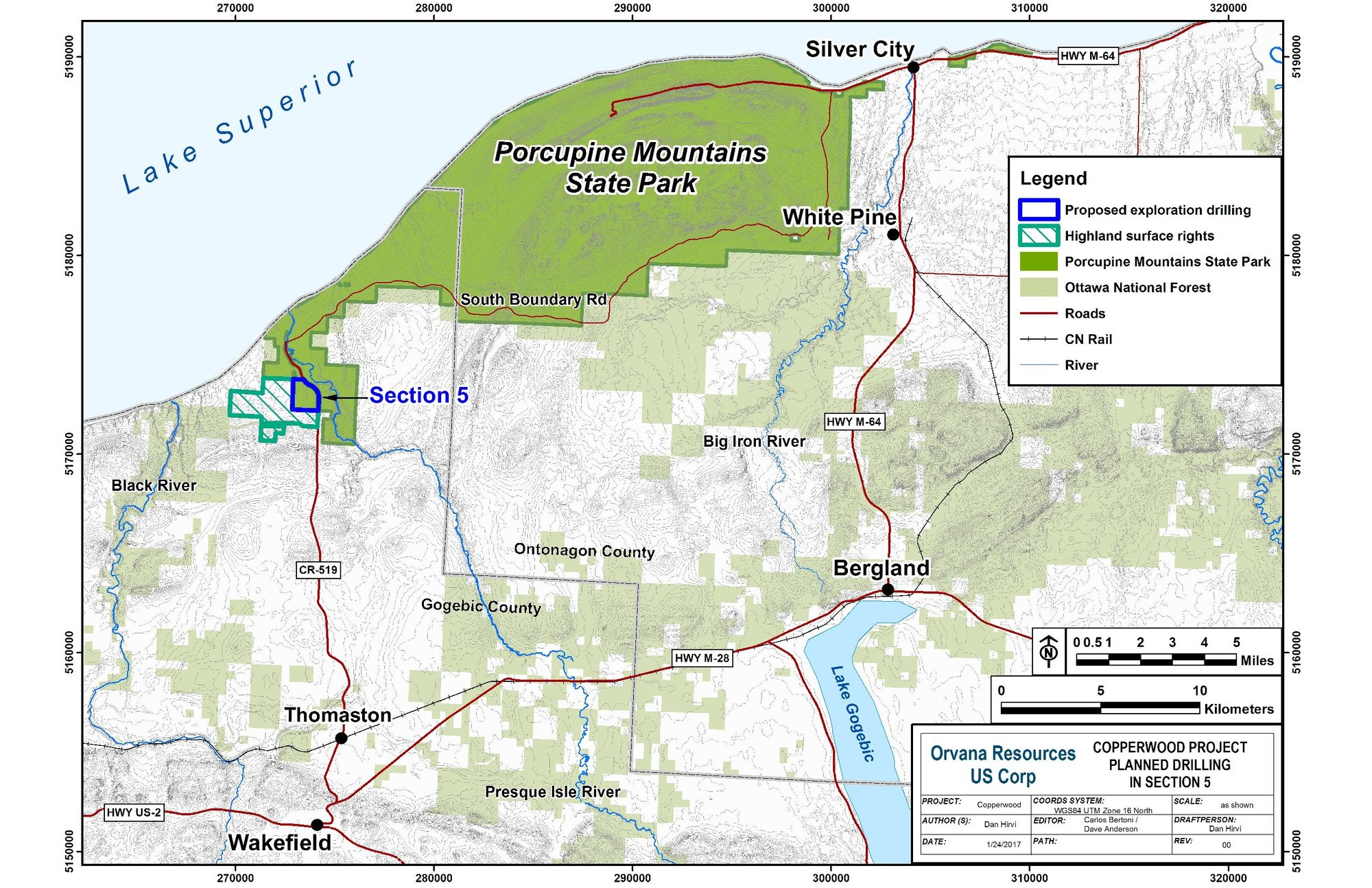 A map showing the location of the Highland Copper exploration at Porcupine Mountains Wilderness State Park.
