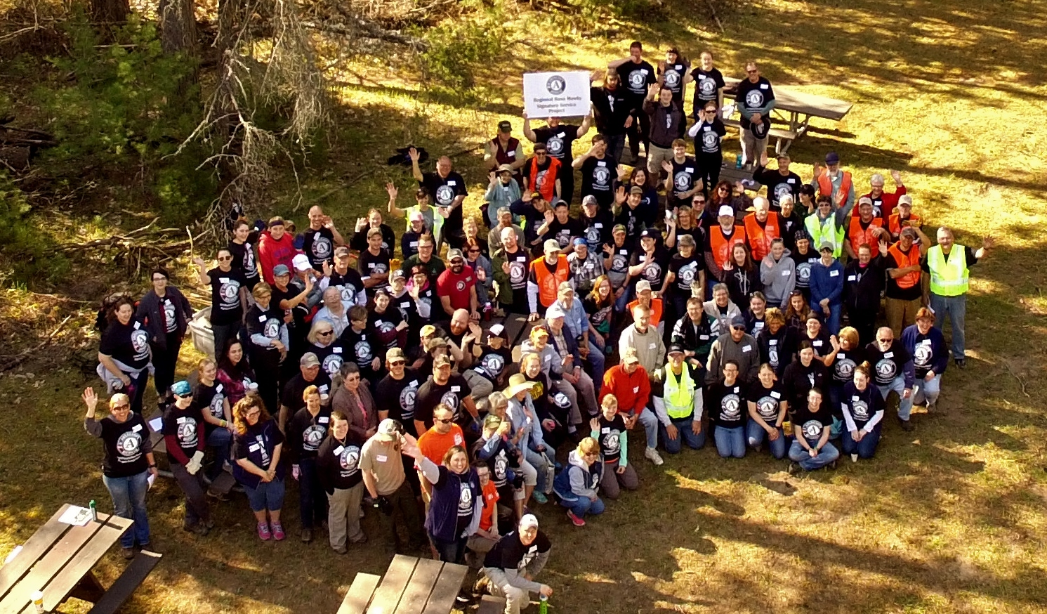 On May 20, 2016, a group of 150 AmeriCorps members and volunteers worked on the Discovery Center at the Pigeon River Country State Forest.
