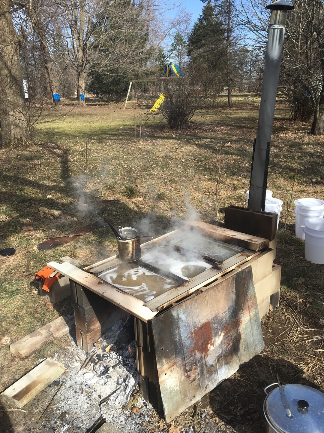 "A ""sugar stove"" used to boil down maple sap."