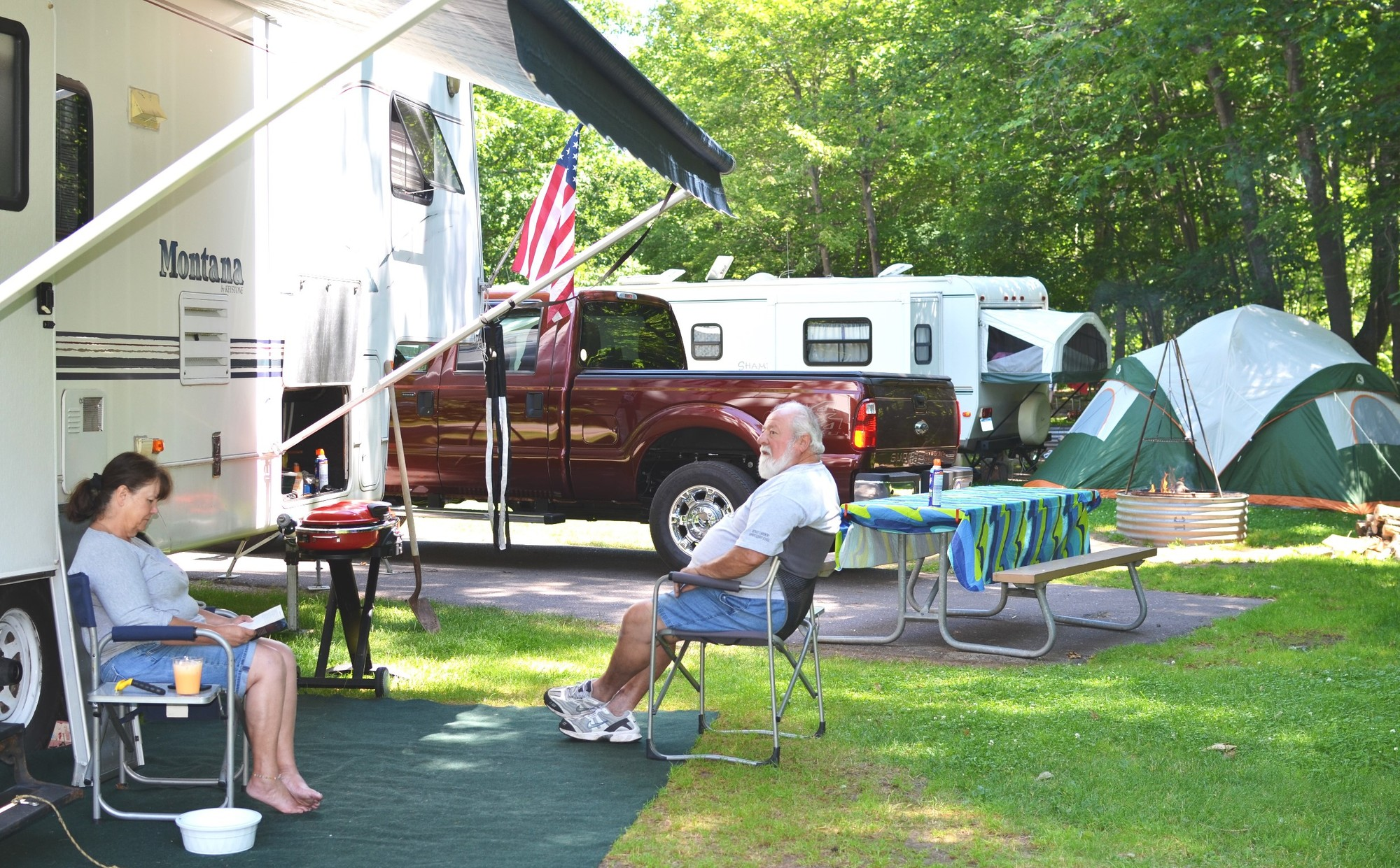 Visitors enjoy a lazy Saturday afternoon at F.J. McLain State Park in Houghton County.