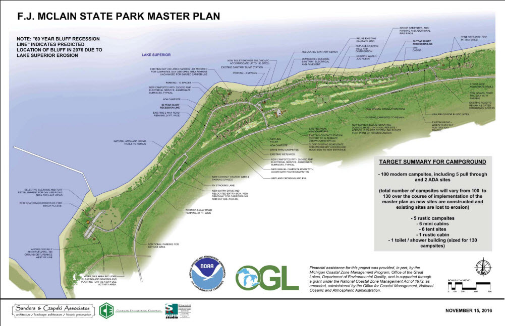 A map showing the master plan at F.J. McLain State Park.