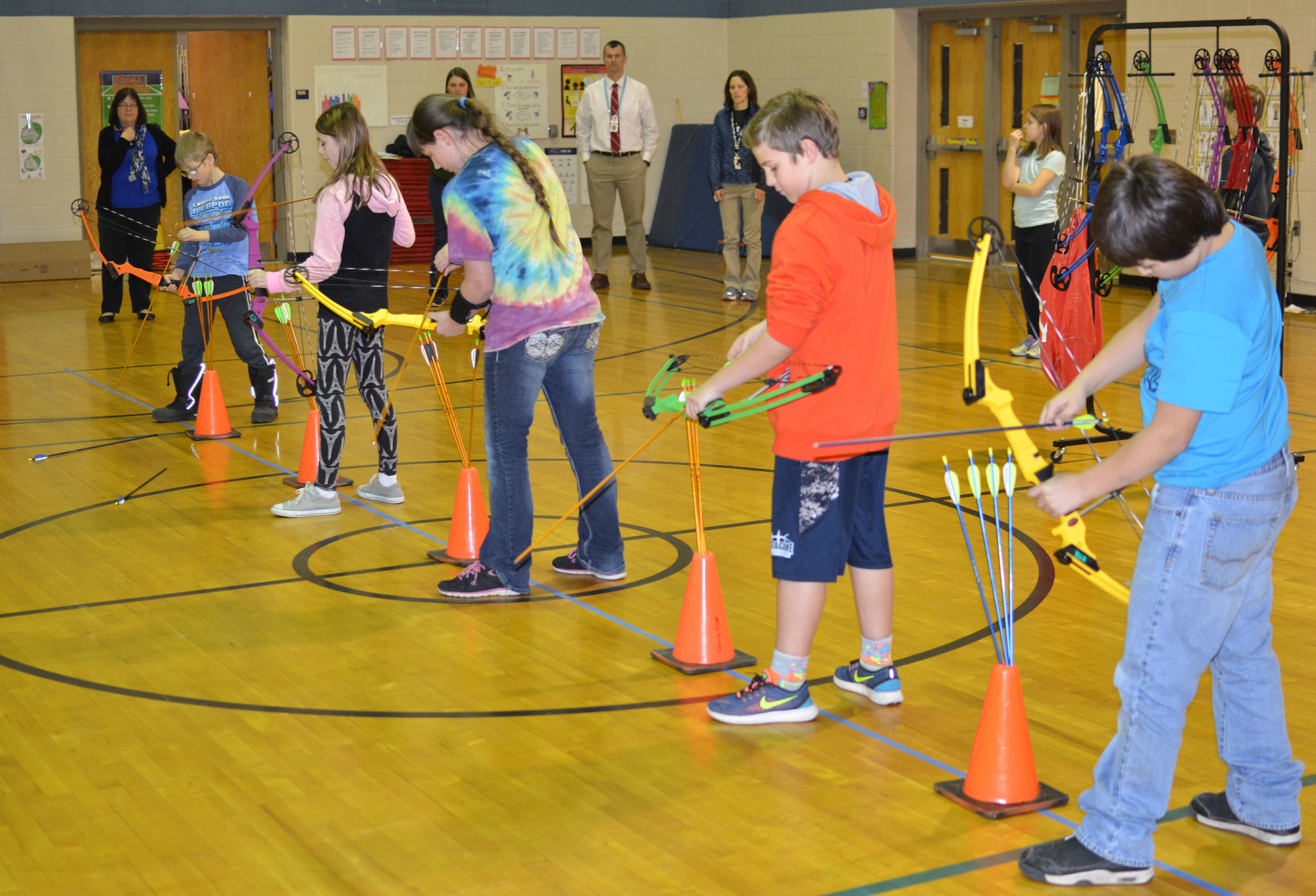 Archers ready themselves to shoot at the Cherry Creek Elementary School south of Marquette.