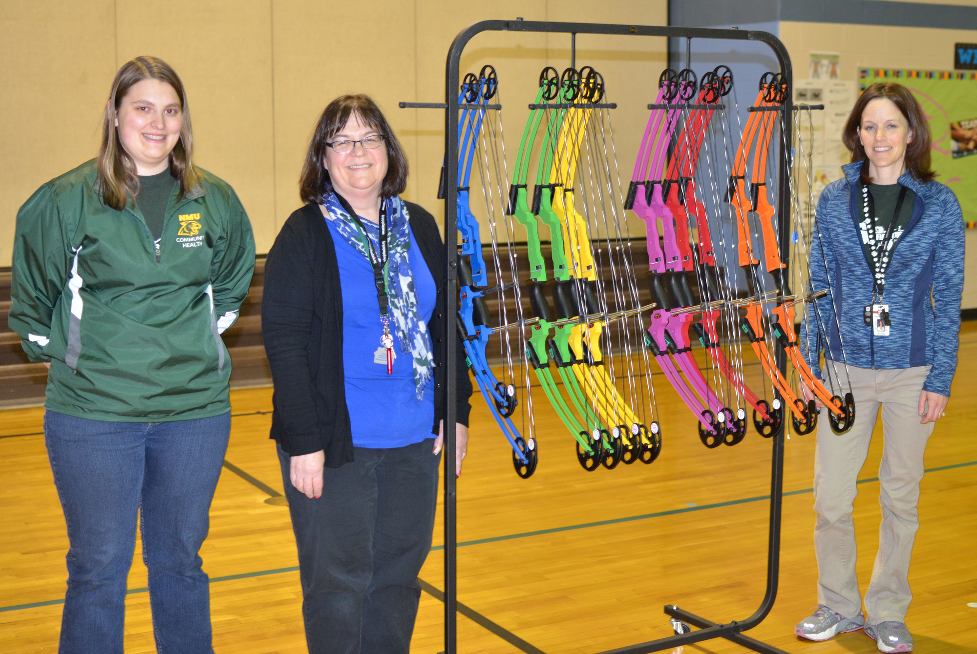 From left, Northern Michigan University senior Casey DeVooght and Cherry Creek Elementary School teachers Mary Bengry and Kathryn Weycker.